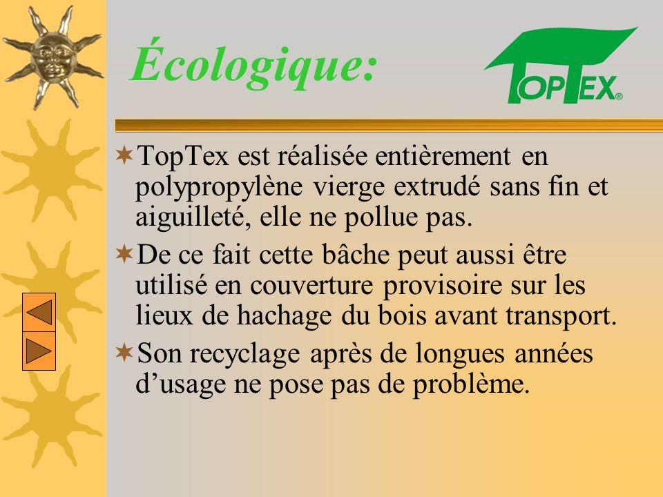 Écologique: TopTex est réalisée entièrement en polypropylène vierge extrudé sans fin et aiguilleté, elle ne pollue pas.