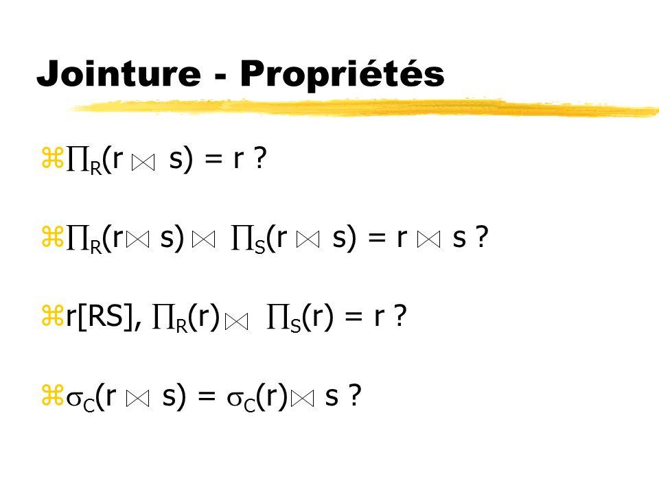 Jointure - Propriétés R(r s) = r R(r s) S(r s) = r s