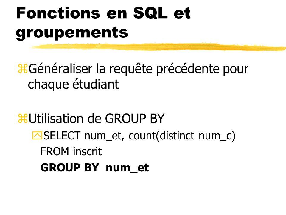 Fonctions en SQL et groupements
