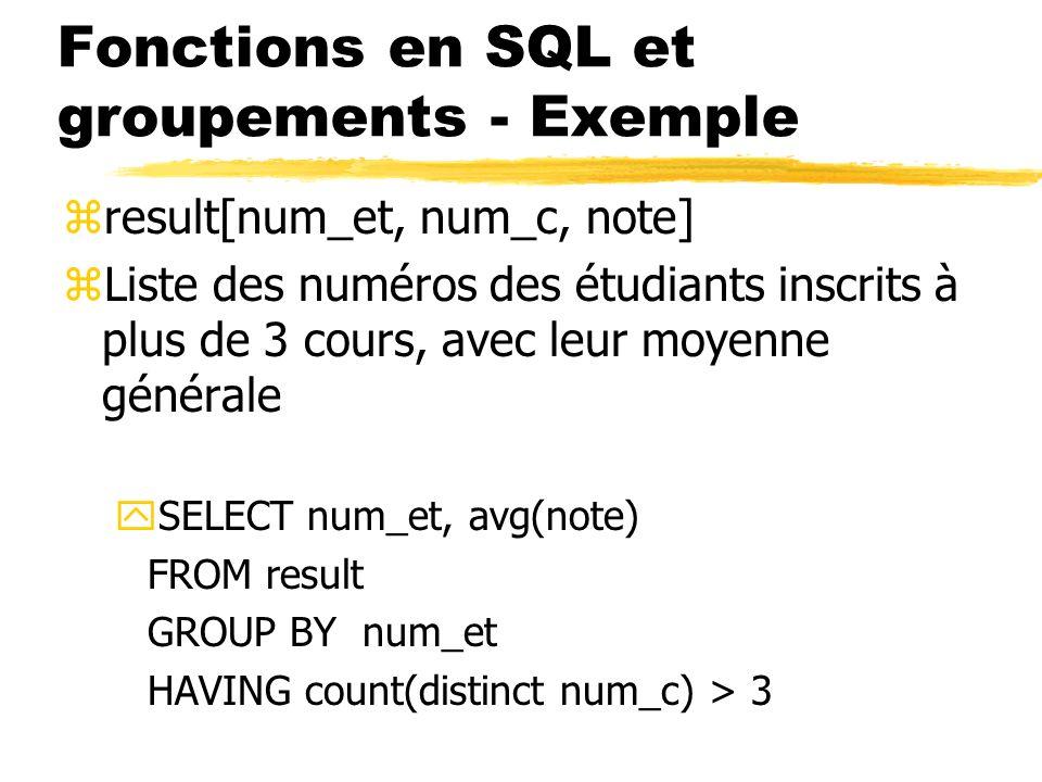 Fonctions en SQL et groupements - Exemple