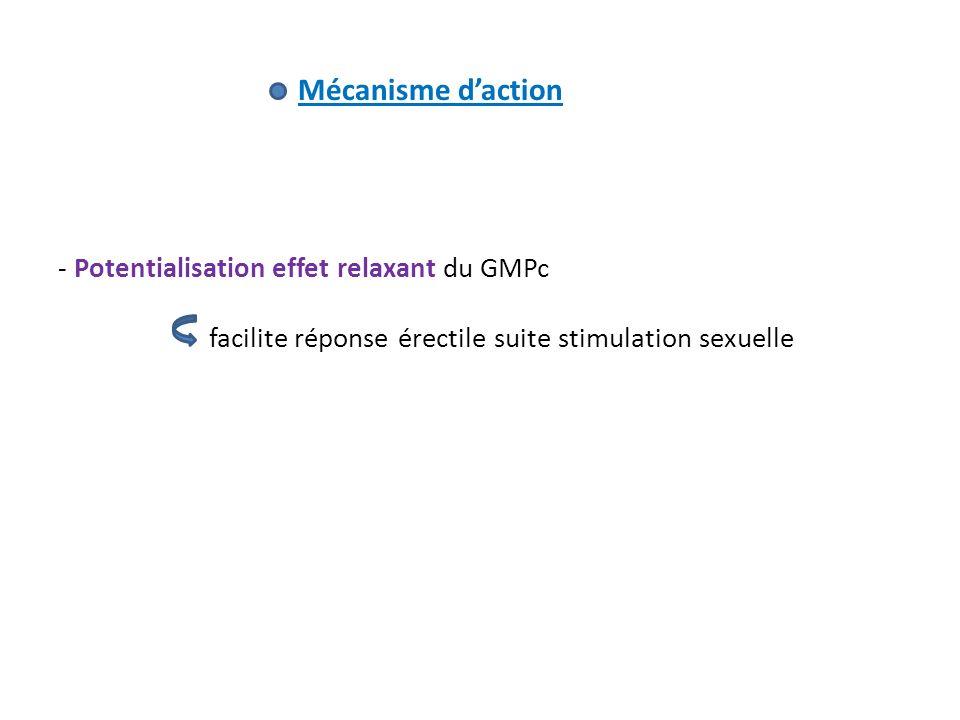 Mécanisme d'action Potentialisation effet relaxant du GMPc.