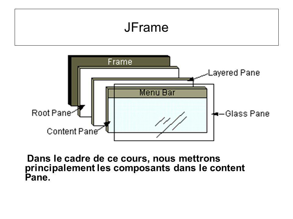 JFrame Dans le cadre de ce cours, nous mettrons principalement les composants dans le content Pane.