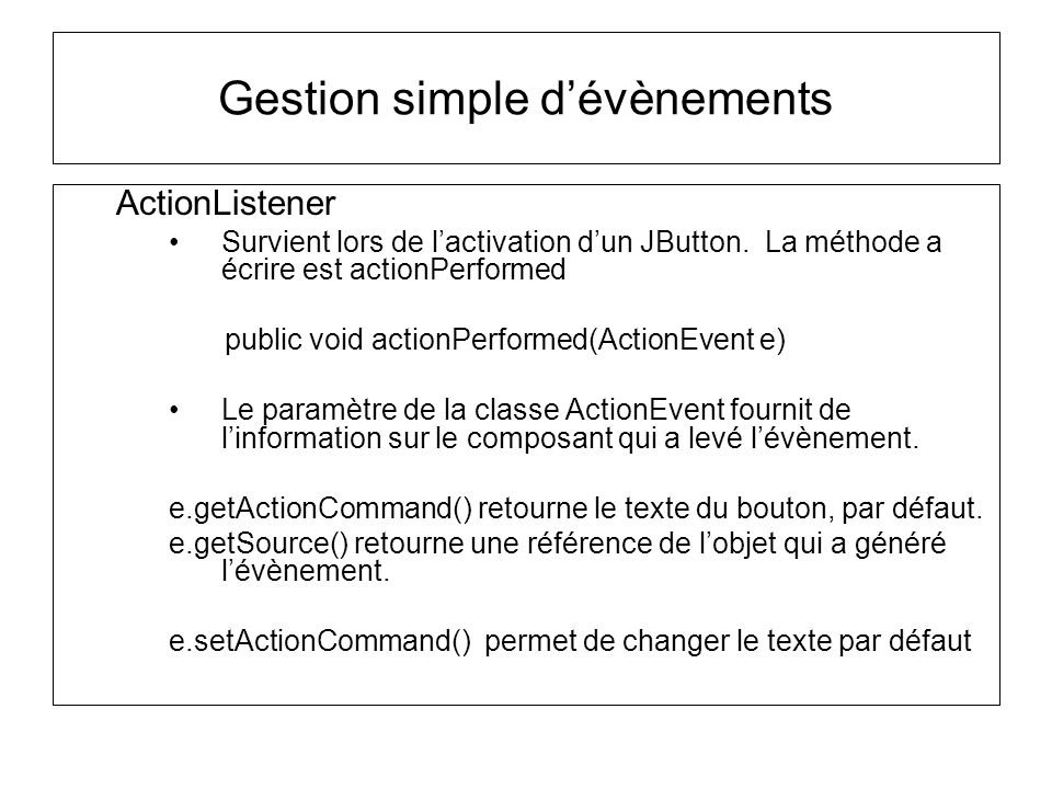 Gestion simple d'évènements