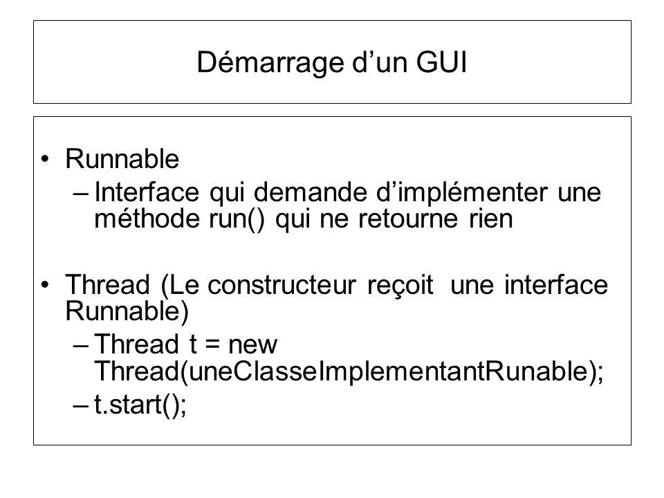 Démarrage d'un GUI Runnable