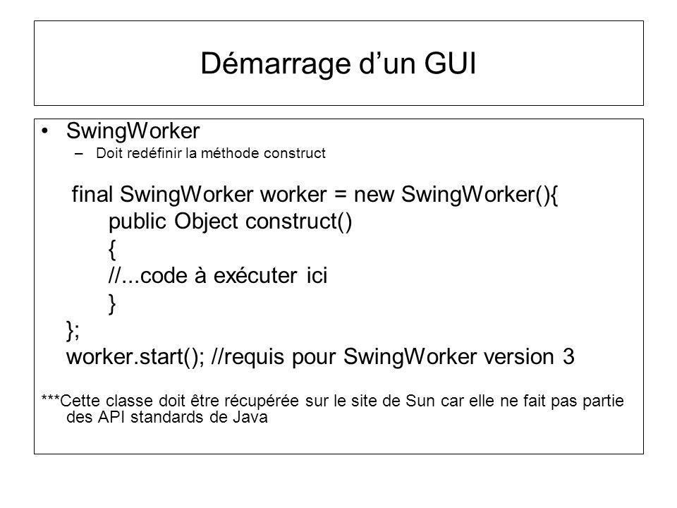 Démarrage d'un GUI SwingWorker