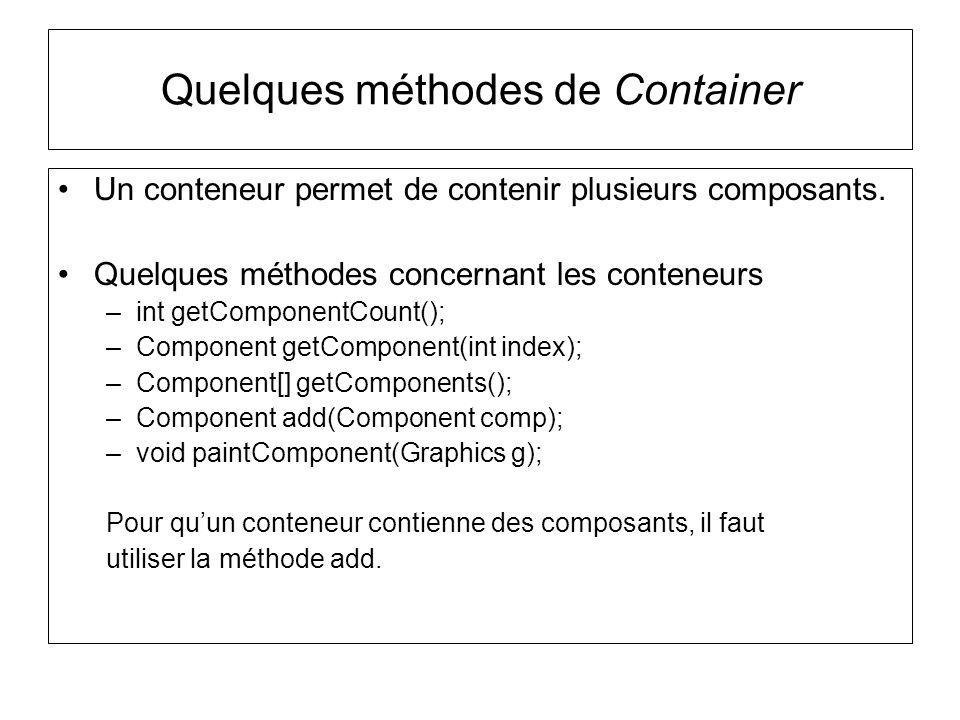 Quelques méthodes de Container