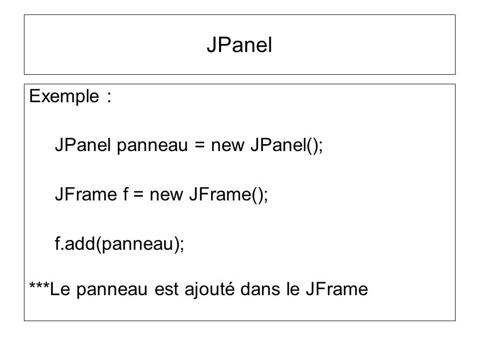 JPanel Exemple : JPanel panneau = new JPanel();