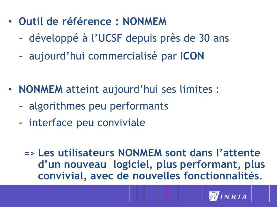 Outil de référence : NONMEM - développé à l'UCSF depuis près de 30 ans