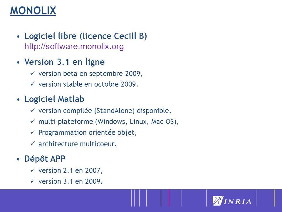 MONOLIX Logiciel libre (licence Cecill B) http://software.monolix.org