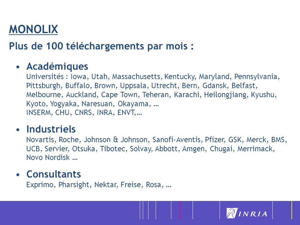 MONOLIX Plus de 100 téléchargements par mois :