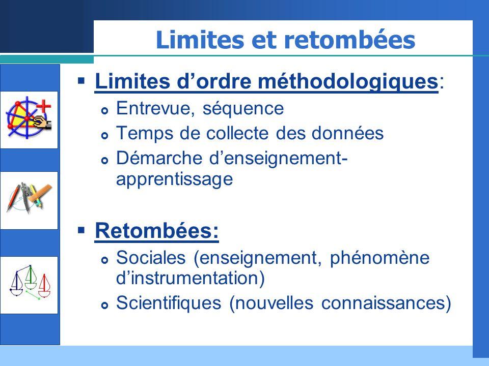 Limites et retombées Limites d'ordre méthodologiques: Retombées: