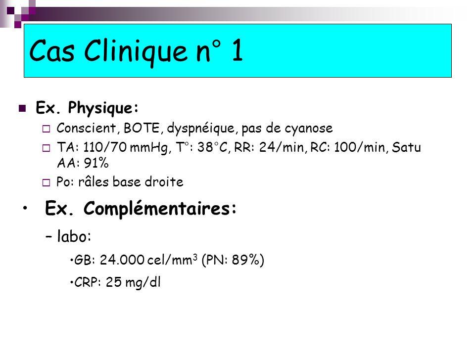Cas Clinique n° 1 Ex. Complémentaires: Ex. Physique: labo:
