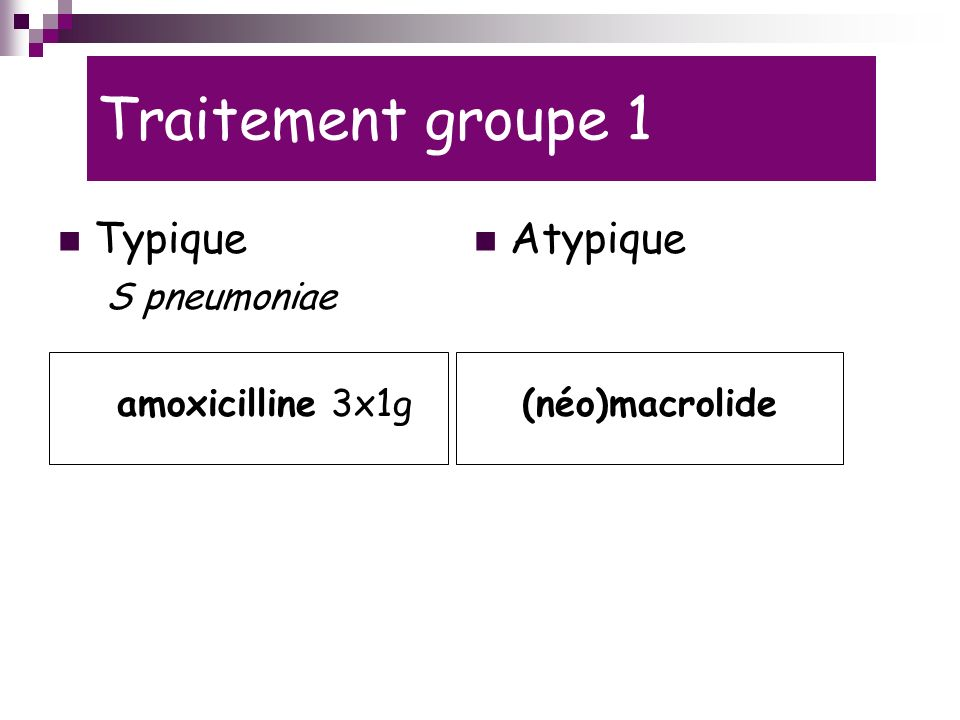 Traitement groupe 1 Typique Atypique S pneumoniae amoxicilline 3x1g