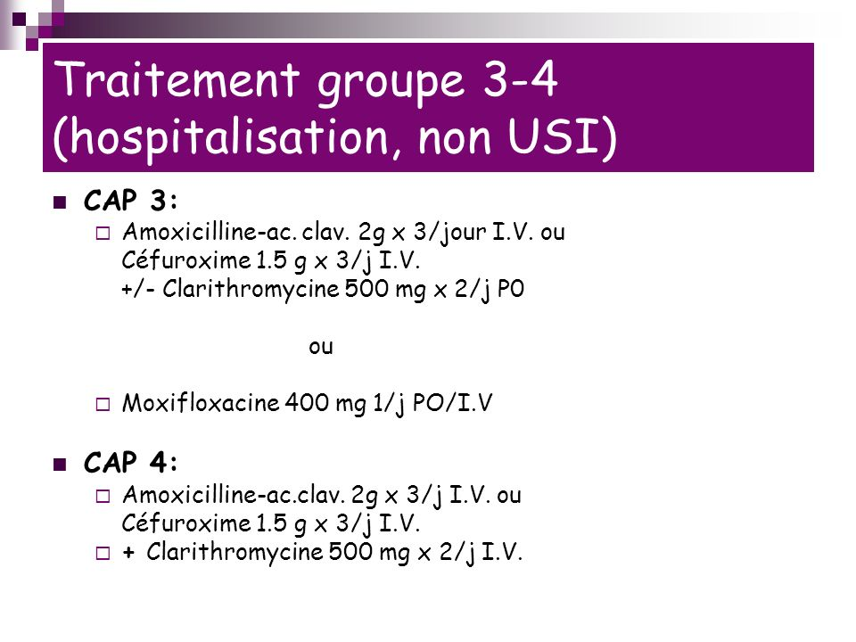 Traitement groupe 3-4 (hospitalisation, non USI)