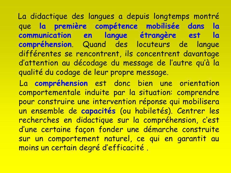 La didactique des langues a depuis longtemps montré que la première compétence mobilisée dans la communication en langue étrangère est la compréhension. Quand des locuteurs de langue différentes se rencontrent, ils concentrent davantage d'attention au décodage du message de l'autre qu'à la qualité du codage de leur propre message.