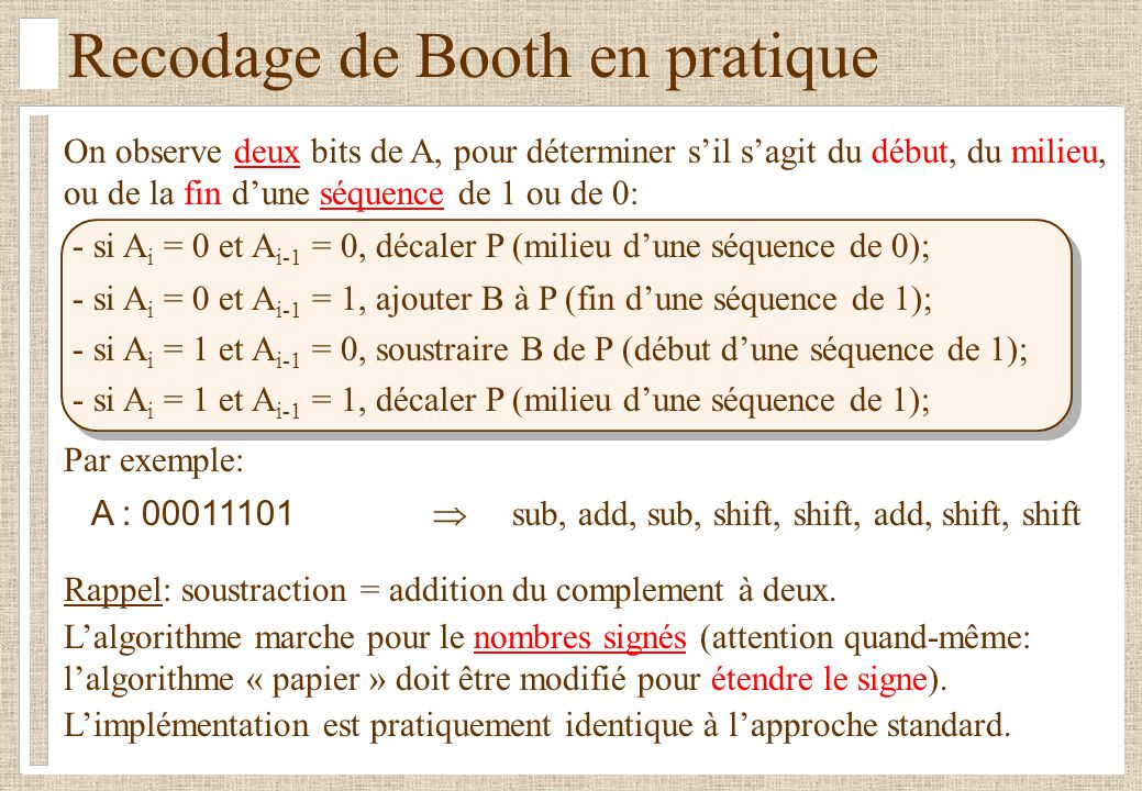 Recodage de Booth en pratique