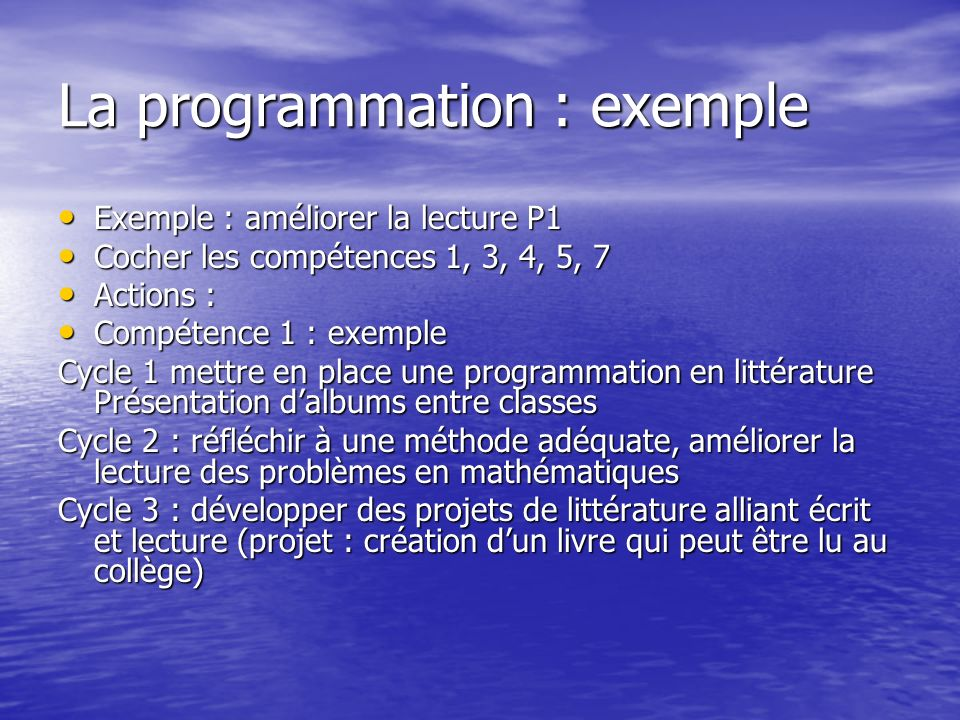 La programmation : exemple