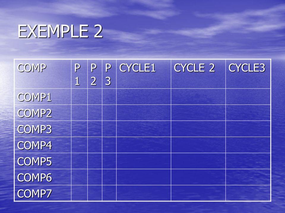 EXEMPLE 2 COMP P1 P2 P3 CYCLE1 CYCLE 2 CYCLE3 COMP1 COMP2 COMP3 COMP4