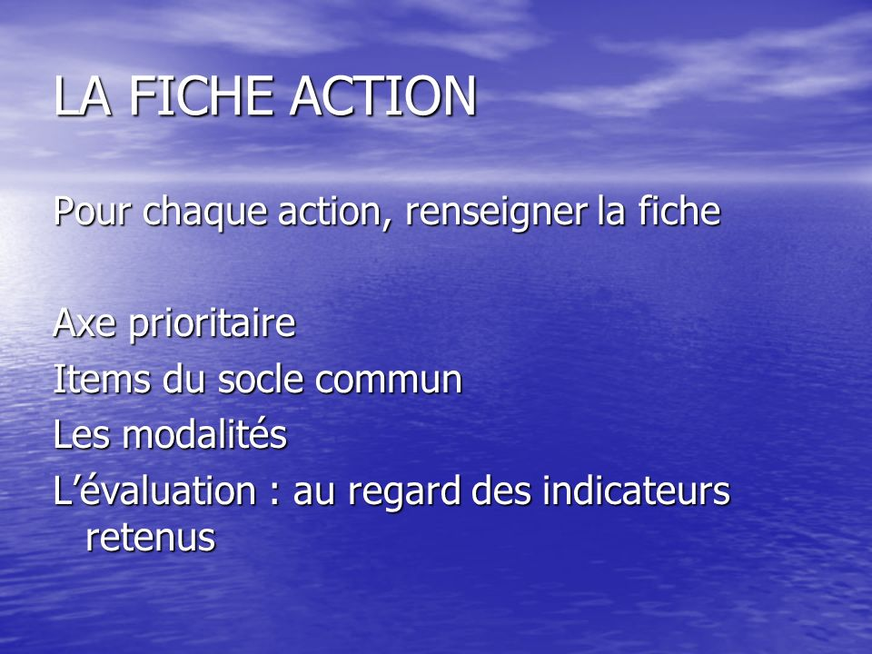 LA FICHE ACTION Pour chaque action, renseigner la fiche