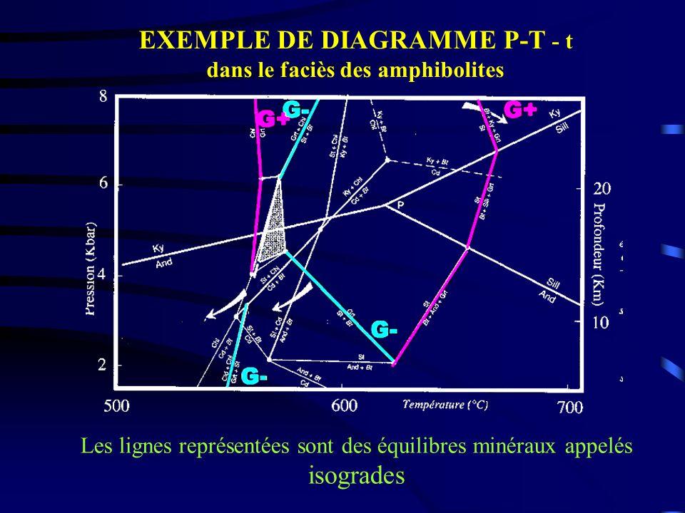 EXEMPLE DE DIAGRAMME P-T - t dans le faciès des amphibolites