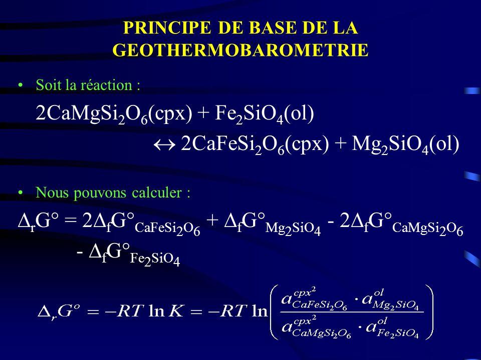 PRINCIPE DE BASE DE LA GEOTHERMOBAROMETRIE