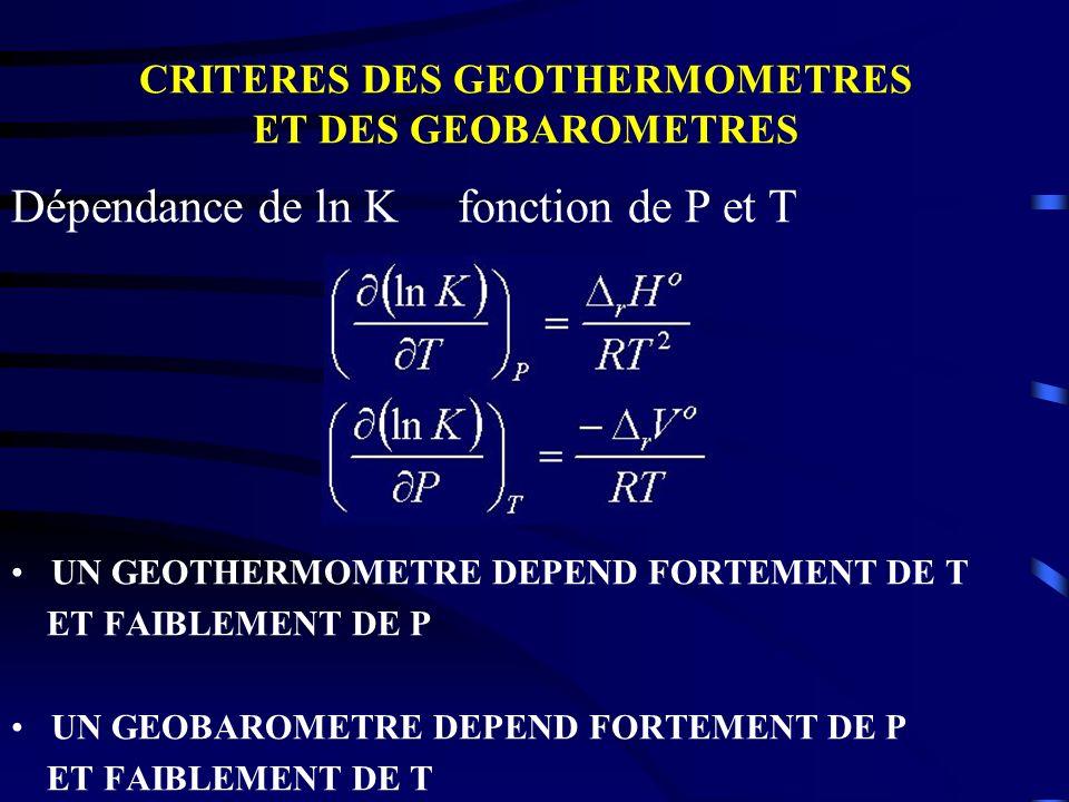 CRITERES DES GEOTHERMOMETRES ET DES GEOBAROMETRES