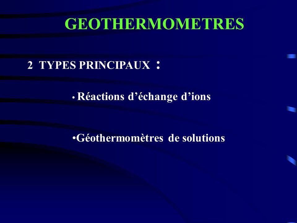 GEOTHERMOMETRES 2 TYPES PRINCIPAUX :