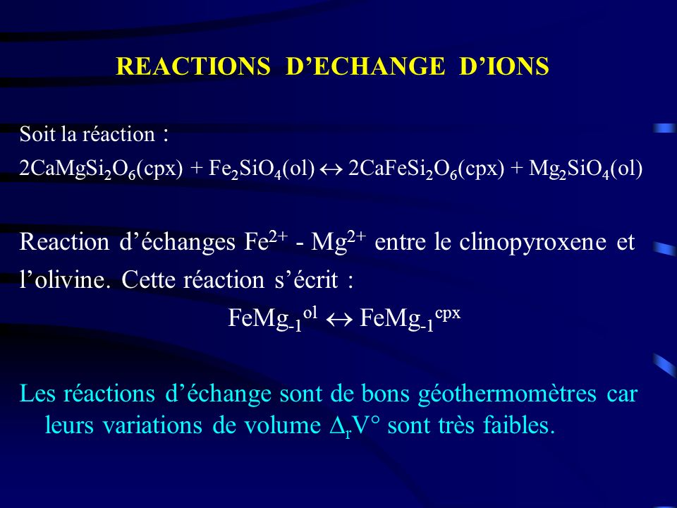 REACTIONS D'ECHANGE D'IONS