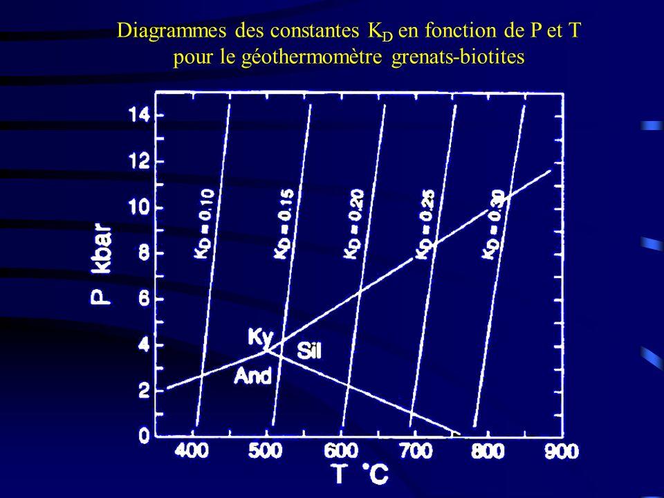 Diagrammes des constantes KD en fonction de P et T