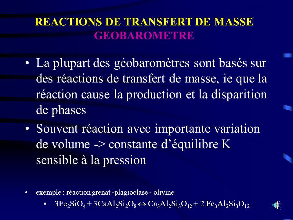 REACTIONS DE TRANSFERT DE MASSE GEOBAROMETRE