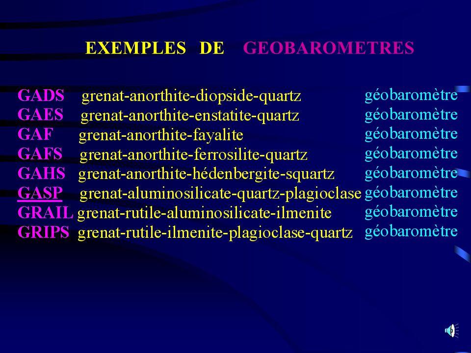 EXEMPLES DE GEOBAROMETRES