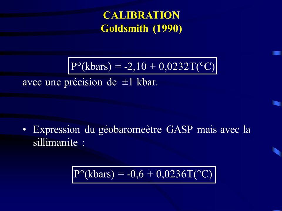 CALIBRATION Goldsmith (1990) P°(kbars) = -2,10 + 0,0232T(°C) avec une précision de ±1 kbar.