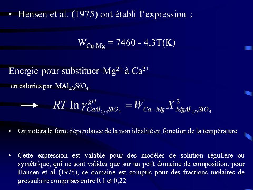 Hensen et al. (1975) ont établi l'expression : WCa-Mg = 7460 - 4,3T(K)