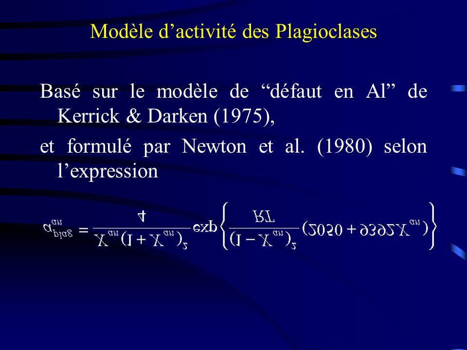 Modèle d'activité des Plagioclases