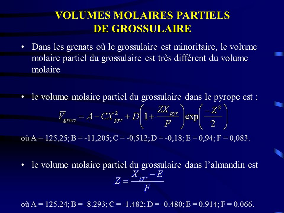 VOLUMES MOLAIRES PARTIELS