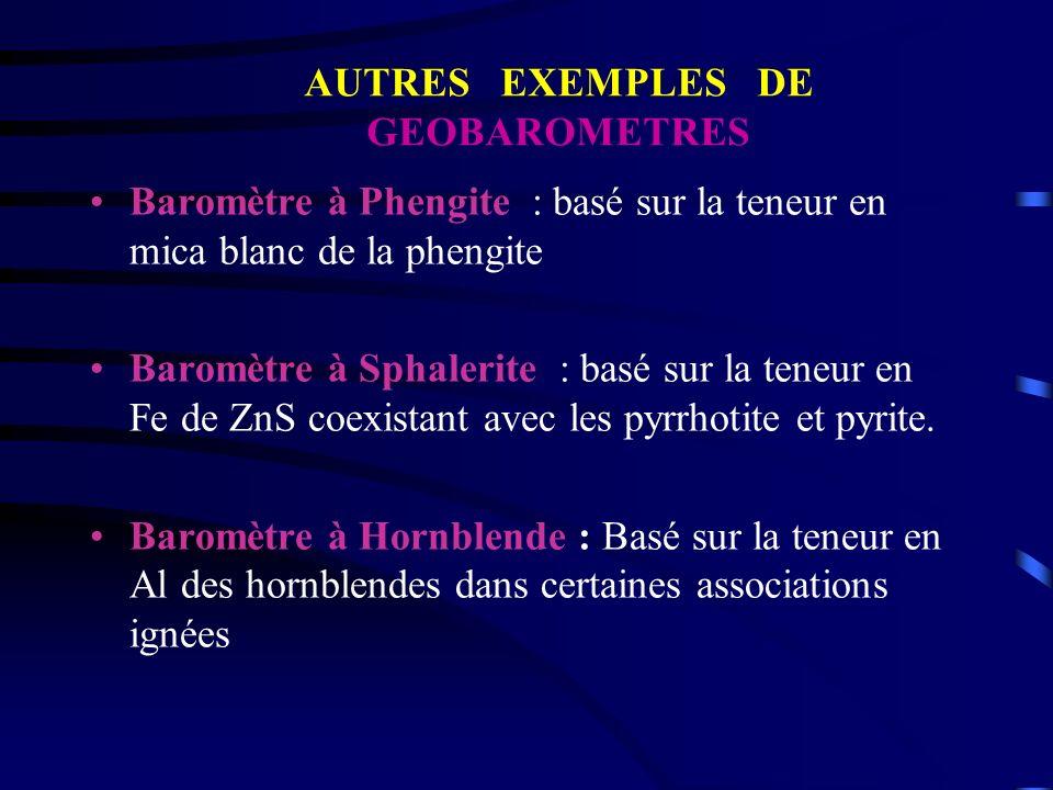 AUTRES EXEMPLES DE GEOBAROMETRES