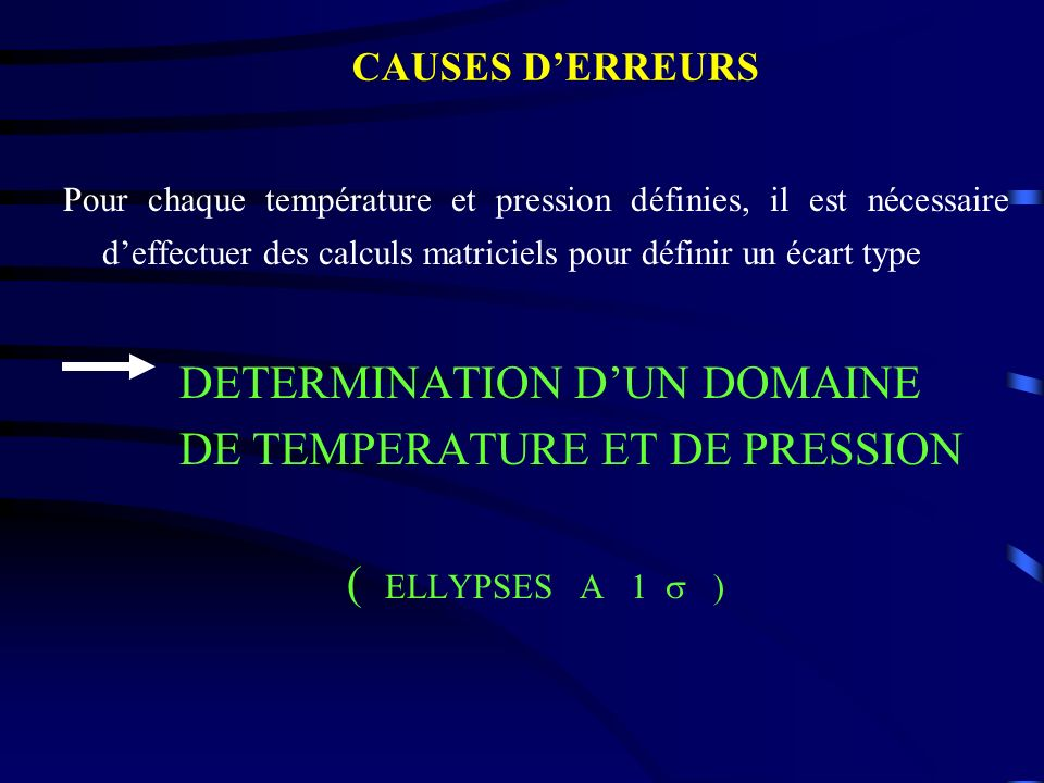 DETERMINATION D'UN DOMAINE DE TEMPERATURE ET DE PRESSION