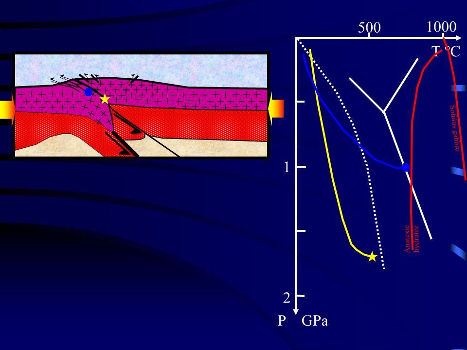 500 1000 T °C 1 2 P GPa Solidus gabbro Phase 4 : Anatexie hydratée