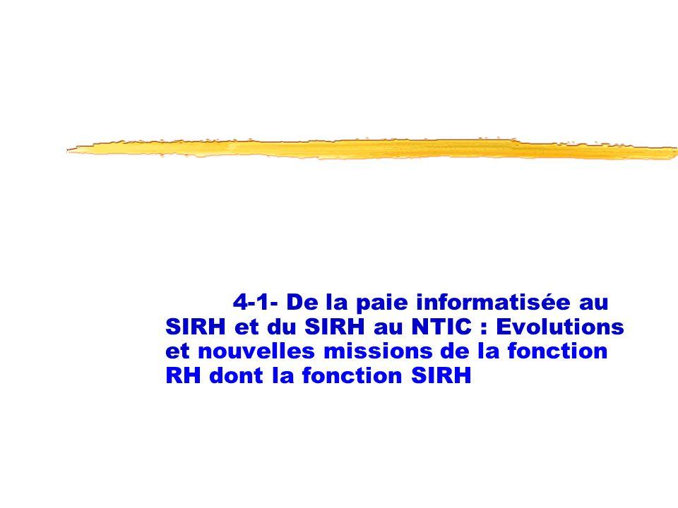 4-1- De la paie informatisée au SIRH et du SIRH au NTIC : Evolutions et nouvelles missions de la fonction RH dont la fonction SIRH