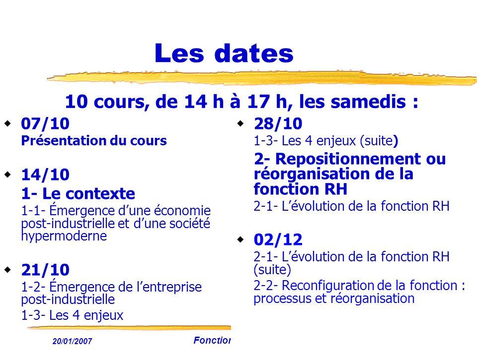 Les dates 10 cours, de 14 h à 17 h, les samedis : 07/10 14/10