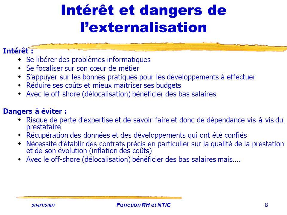 Intérêt et dangers de l'externalisation