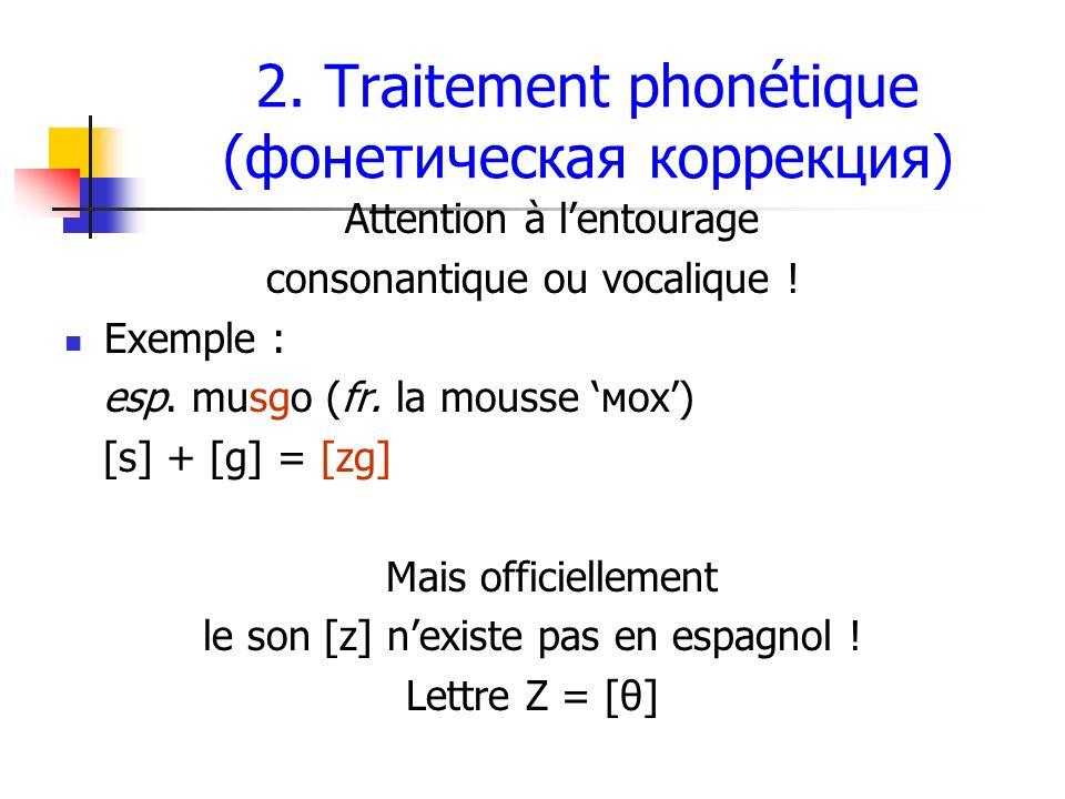 2. Traitement phonétique (фонетическая коррекция)