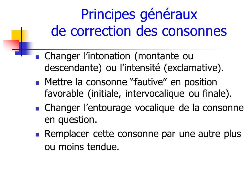 Principes généraux de correction des consonnes
