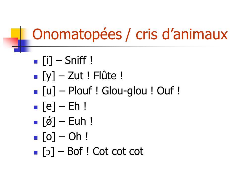 Onomatopées / cris d'animaux