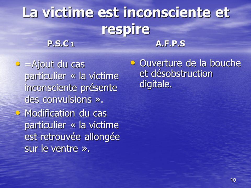 La victime est inconsciente et respire