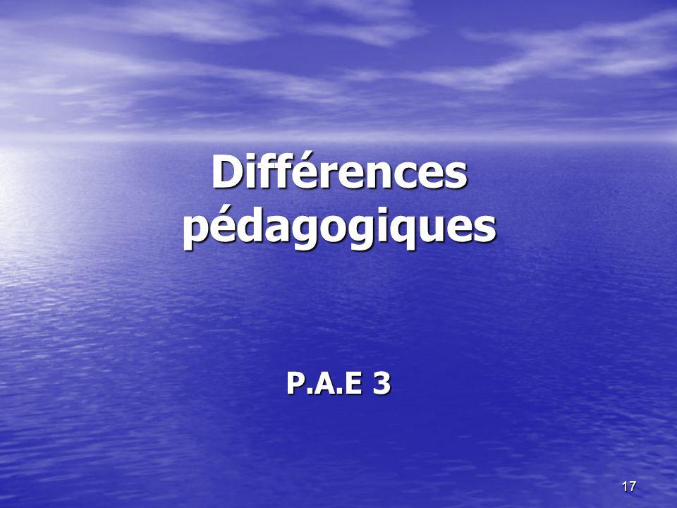 Différences pédagogiques