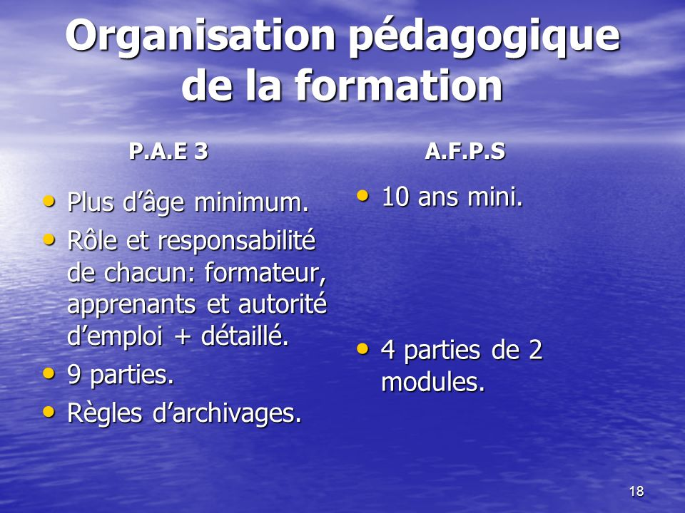 Organisation pédagogique de la formation