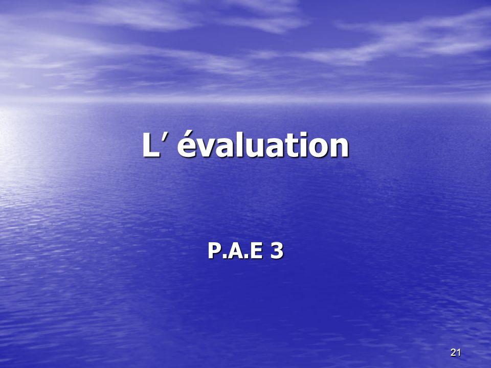 L' évaluation P.A.E 3