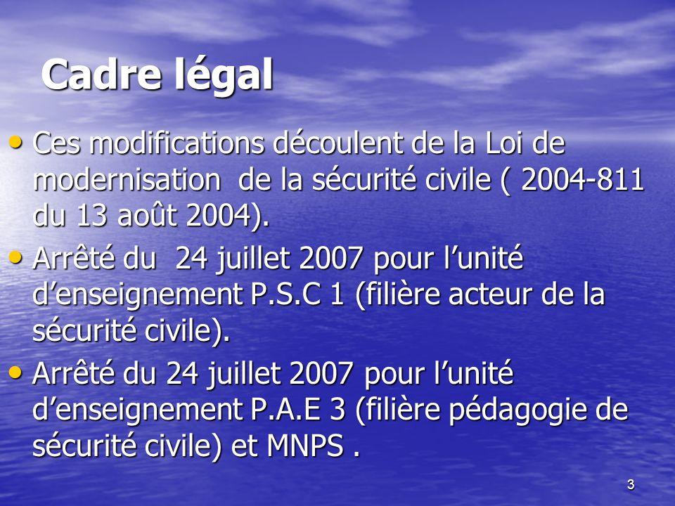 Cadre légal Ces modifications découlent de la Loi de modernisation de la sécurité civile ( 2004-811 du 13 août 2004).