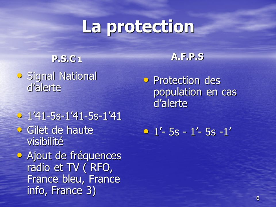 La protection Signal National d'alerte